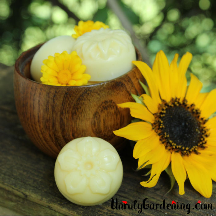 A brown bowl with two lotion bars and two calendula flowers is on a dark brown weathered rail. A single lotion bar is propped in front of the bowl, and beside it, slightly angled away, is a sunflower.