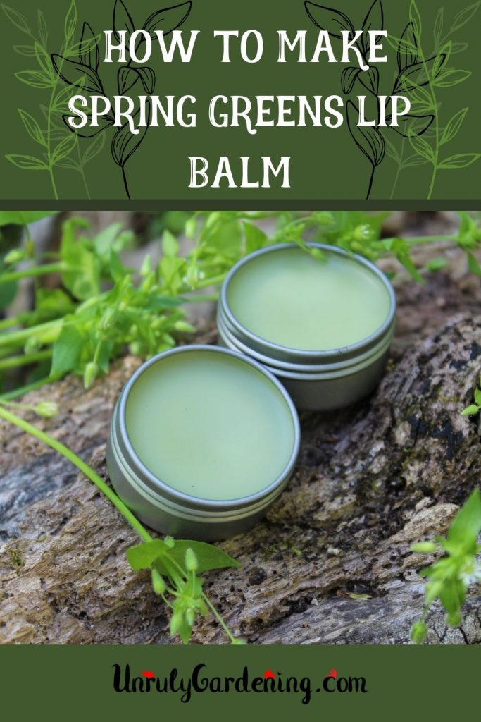 Pinterest pin for How to Make Spring Greens Lip Balm. There is a dark green top border and bottom strip, the words on the top being white and the logo beneath in black. Green leaf designs decorate the top border. In between is an image is of two tins of green lip balm sitting on a log. Green chickweed can be seen on the upper left and lower right of the image, with one strand straying across.