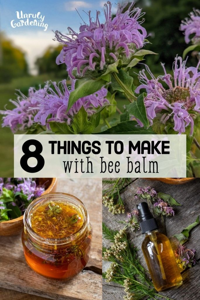 8 Things to Make with Bee Balm with photos of bee balm, jar of honey, and spray bottle