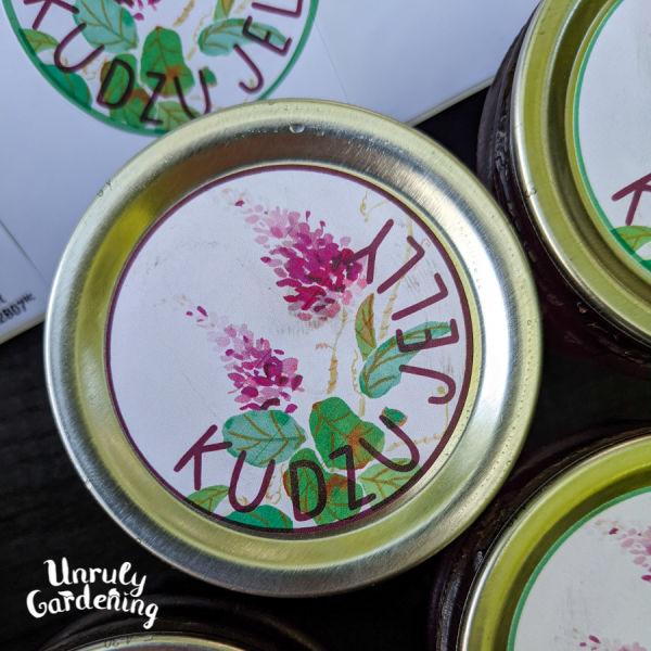 """jar lid with says """"Kudzu Jelly"""" with decorative kudzu flower graphics"""