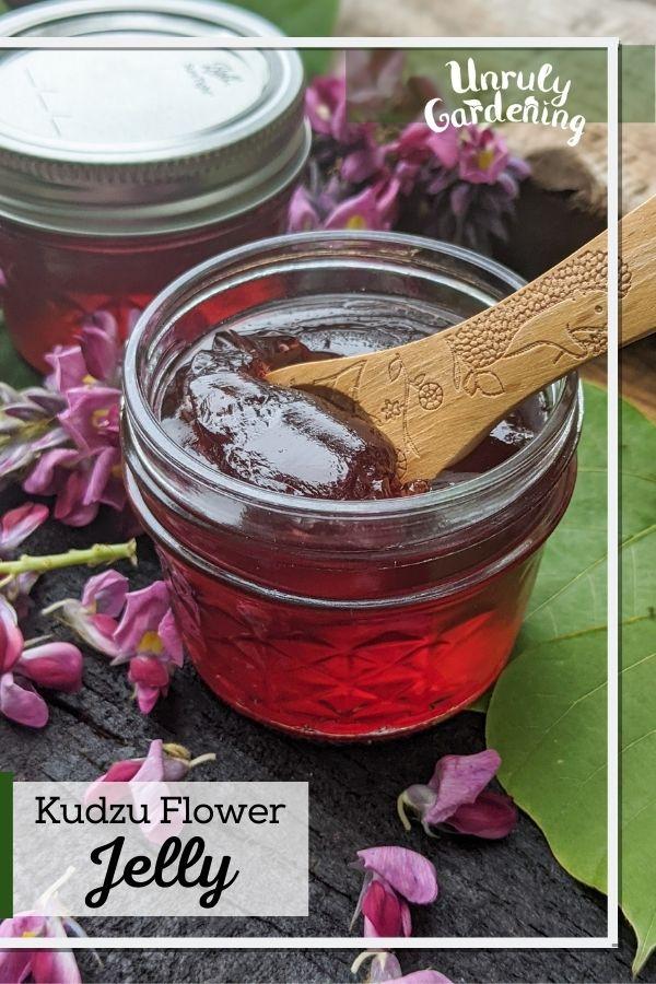 jar of kudzu jelly with fresh kudzu flowers