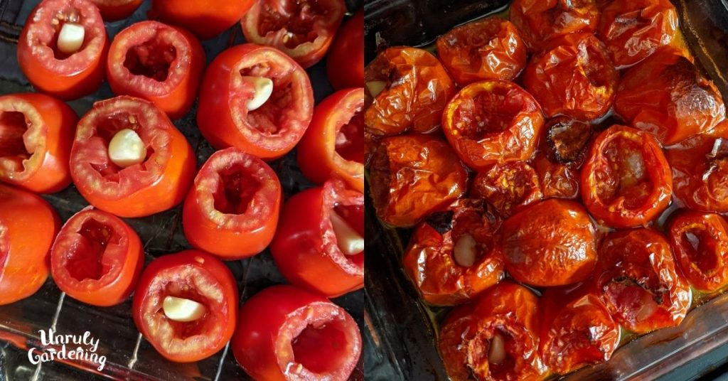 pan of uncooked tomatoes and pan of roasted tomatoes